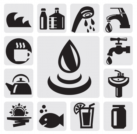 water faucet: water icons
