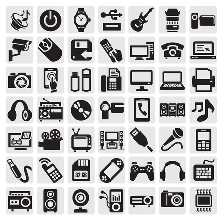 black appliances: electronic devices Illustration