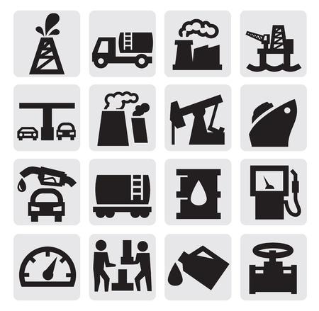 tanque de combustible: Iconos del petróleo Vectores
