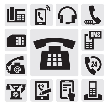 black phone and call: Phone icons Illustration