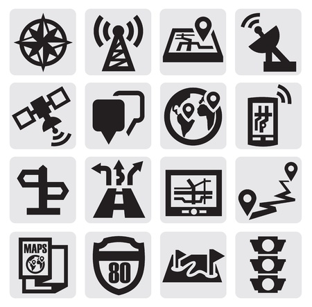 gps map: Navigation icons