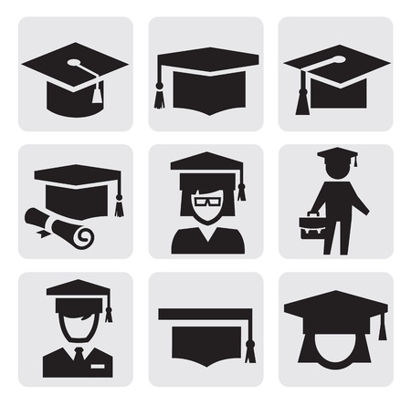 college graduate: education icons Illustration