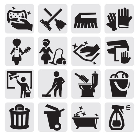 cleaning window: Cleaning icons
