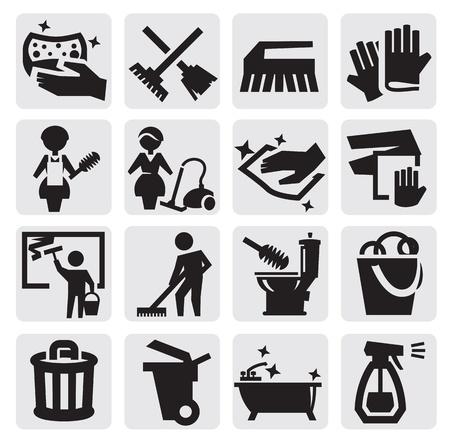 clean window: Iconos de limpieza Vectores