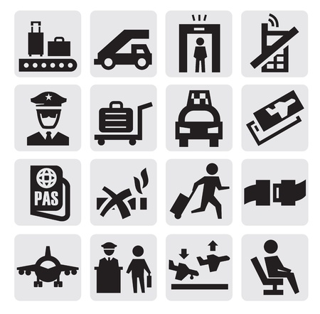 airport icons Stock Vector - 15479400