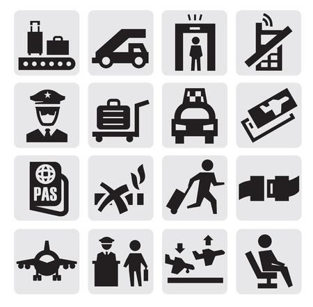Iconos del aeropuerto Ilustración de vector
