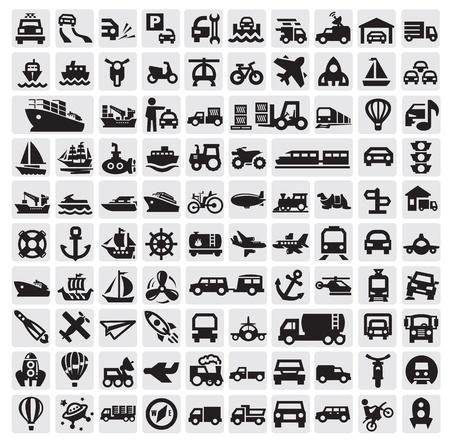 doprava: velké dopravní ikony Ilustrace
