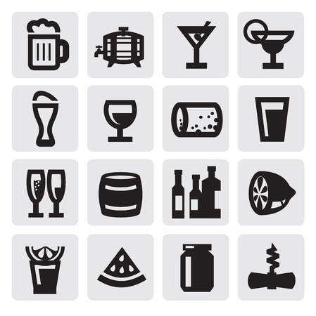 glass cup: beverages icons Illustration