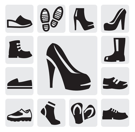 high heel shoes: boots men and women Illustration