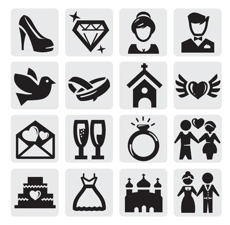 coeur diamant: ic�nes de mariage Illustration