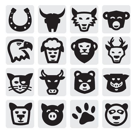 wolf head: animals set