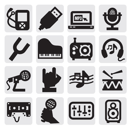 microfono de radio: iconos de la música Vectores