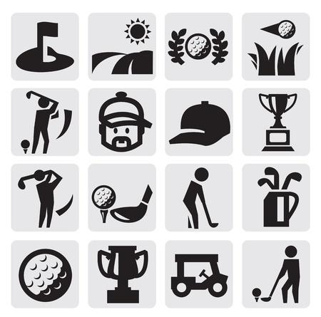 golf cart: Golf Icons Illustration