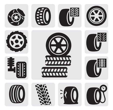 pressure gauge: tire icons Illustration