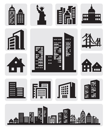 cities silhouette icon Stock Photo - 15631942