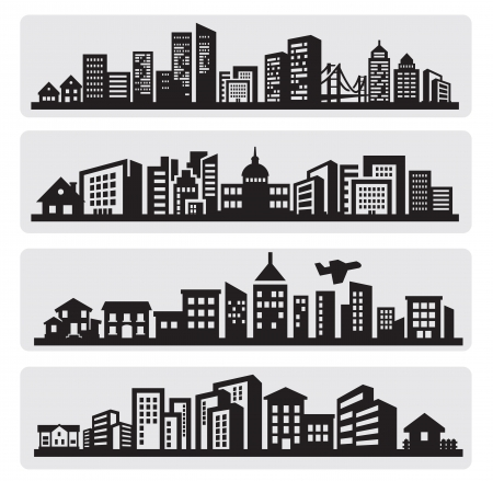 residential district: cities silhouette icon