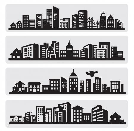 ciudad: ciudades silueta icono Foto de archivo