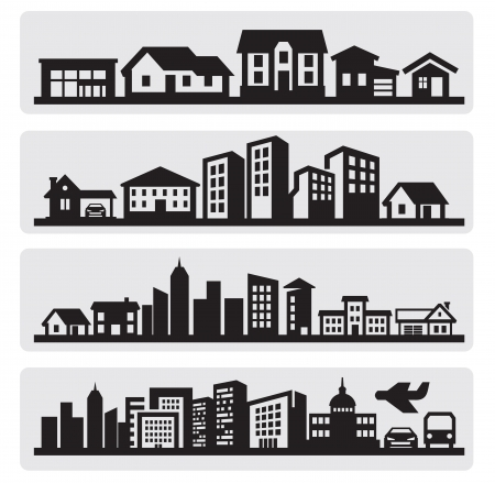 residential structure: cities silhouette icon