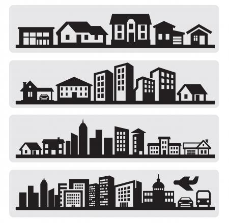 silhouette maison: villes silhouette icône