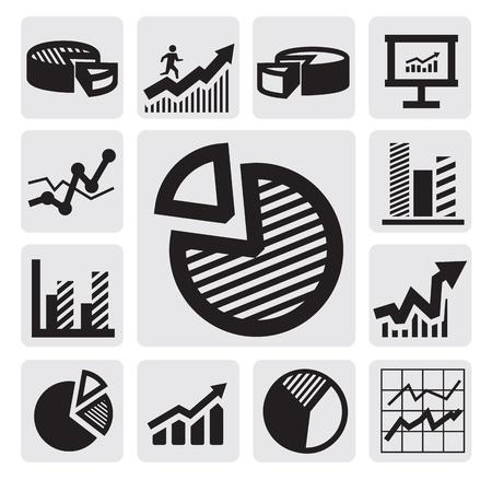 grafica de pastel: Tabla de iconos de negocios