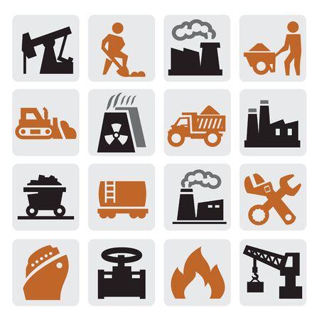 metallurgy: power generation icons Illustration