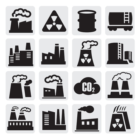 nuclear plant: factory icons set