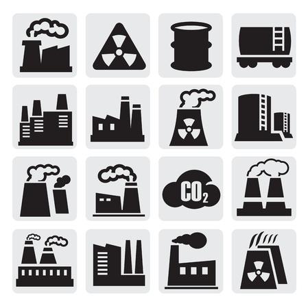 edificio industrial: iconos de ajuste de fábrica Vectores
