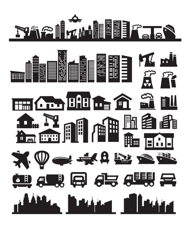 big city icons Stock Vector - 15631952