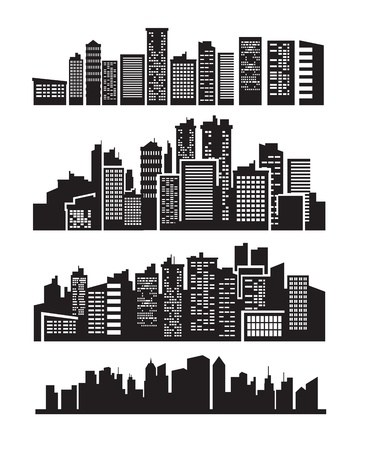 city skyline night: big city icons