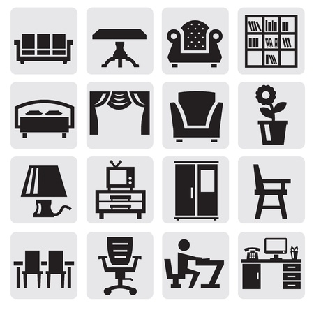 furniture and home icons Vector