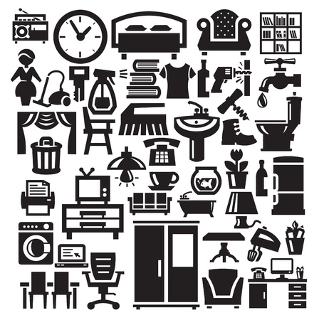 electricals: Home furniture and appliances icons Illustration