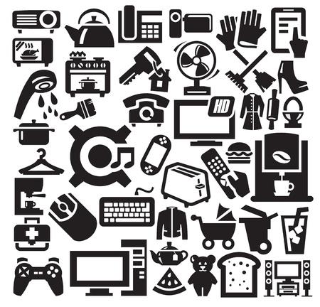 home appliances: Electrodom�sticos iconos de Inicio Vectores
