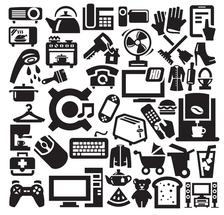 electronic board: Home  appliances icons Illustration