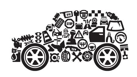 repair shop: Iconos de autom�viles