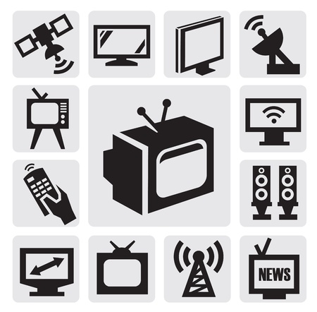 flat screen tv: TV icons set Illustration