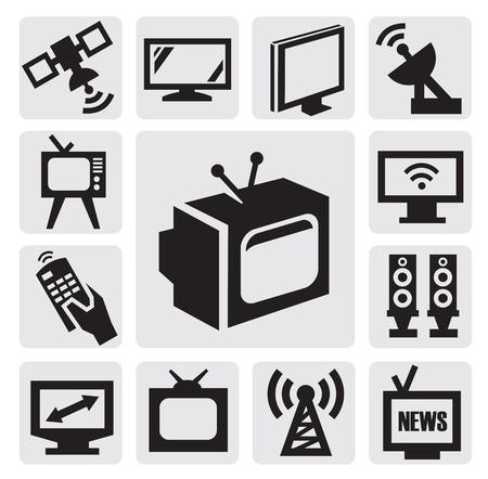 lcd tv: TV icons set Illustration