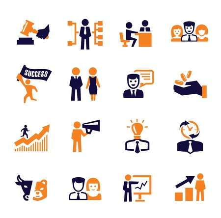 communication icons: office and business