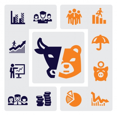 bear market: business icons Illustration
