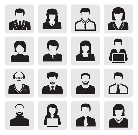 uniformes de oficina: iconos negros avatar establecidos en gris