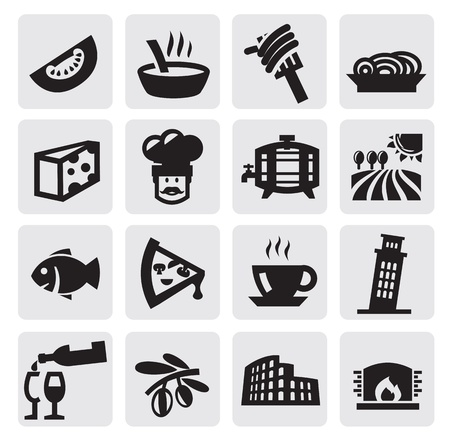 black Italy icons set on gray Vector