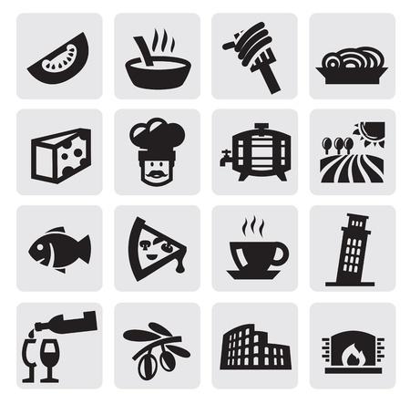 cultura italiana: nero icone Italia impostata sul grigio Vettoriali