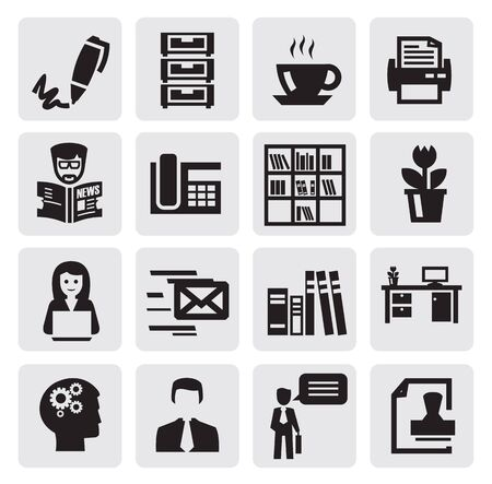 black office and business icons set Stock Vector - 15893748