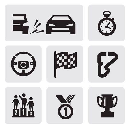 checkered flag: black race icons set on gray