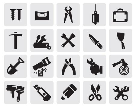 carpentry tools: black tools icons set on gray