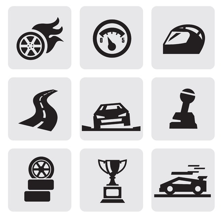 black race icons set on gray Vector