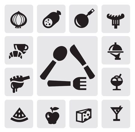kitchen tools: black food icons set on gray Illustration
