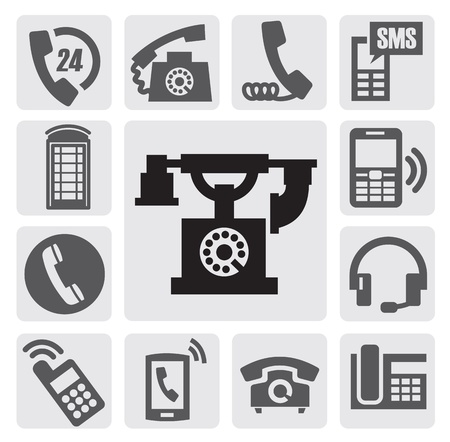 vintage telephone:  black phone icons set on gray Illustration