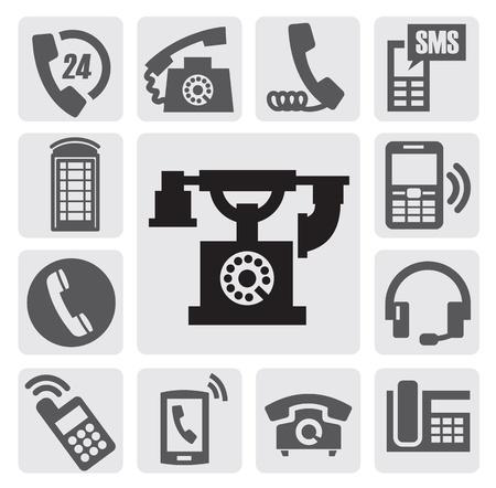 vintage telefoon: zwarte telefoon icons set op grijs