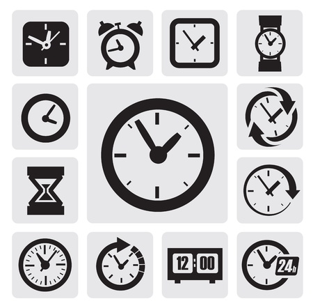 digital clock: black clocks icons in the gray squares