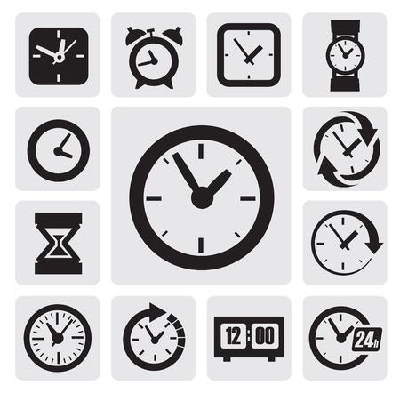 cronometro: Iconos de los relojes negros en los cuadrados grises